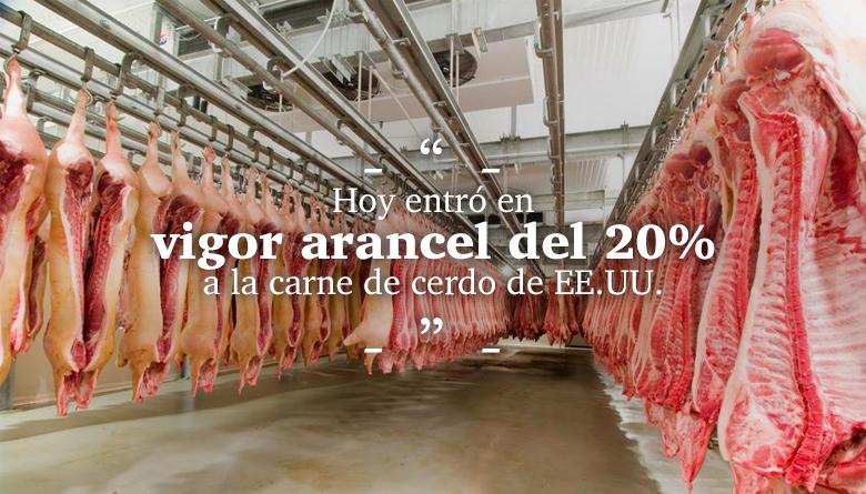Hoy entró en vigor arancel del 20% a la carne de cerdo de Estados Unidos